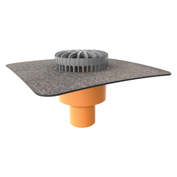Vertical terrace outlets with integrated bitumen sleeve