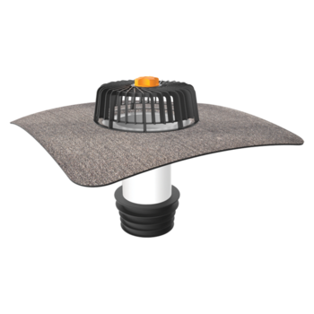 Sanitation outlets for cold roofs with integrated bitumen sleeve
