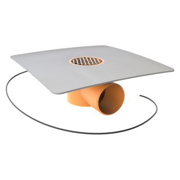 Horizontal heated balcony outlets with integrated PVC sleeve