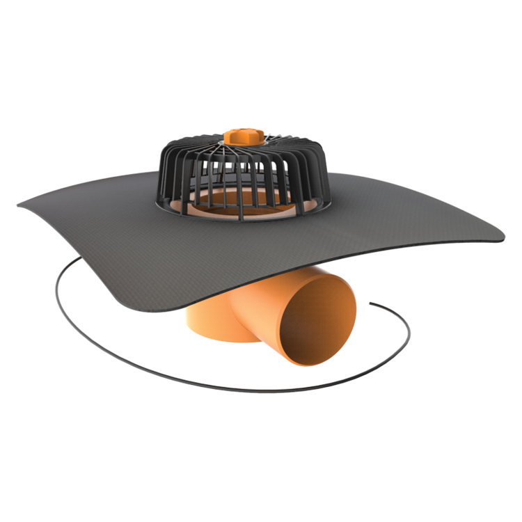 Horizontal heated roof outlets with integrated custom made sleeve