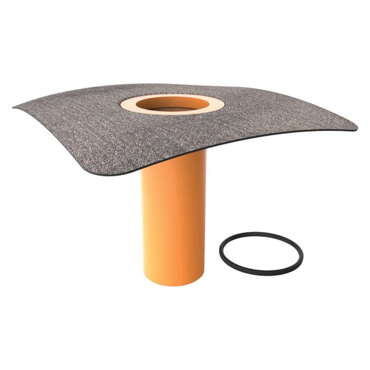 Attachment for roof outlets with integrated bitumen sleeve