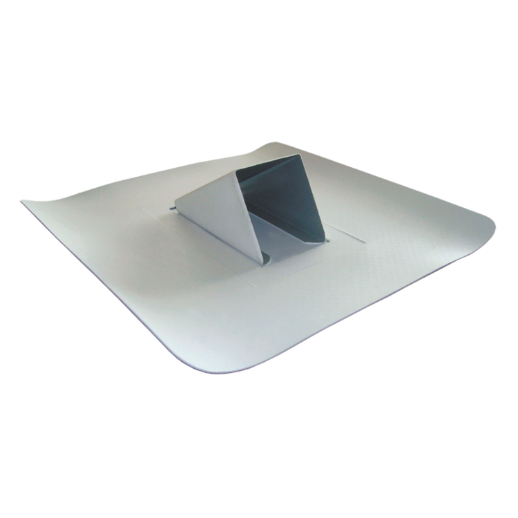 Metal sheet snow catcher, light grey colour, with integrated waterproof sleeve