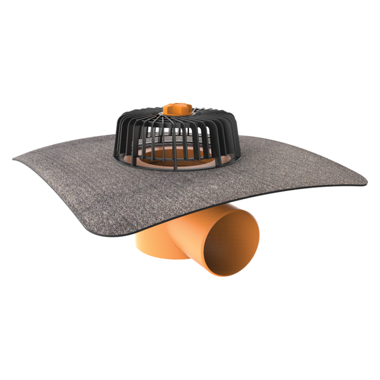 Horizontal roof outlets with integrated bitumen sleeve