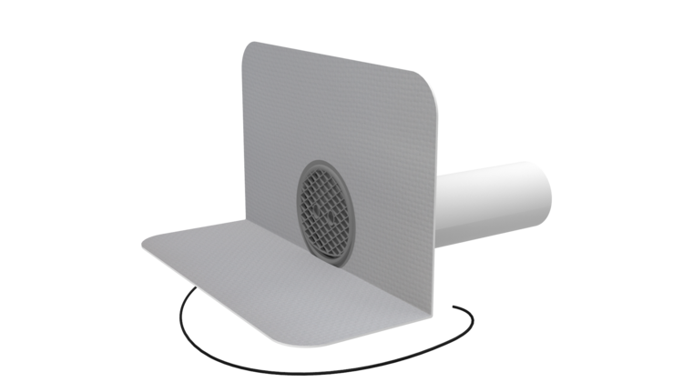 Round heated through wall outlets with integrated PVC sleeve