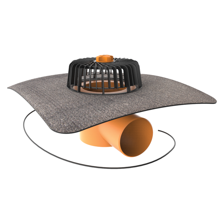 Horizontal heated roof outlets with integrated bitumen sleeve