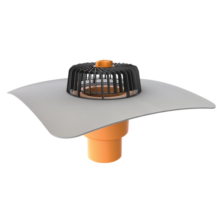 Vertical roof outlets with integrated PVC sleeve