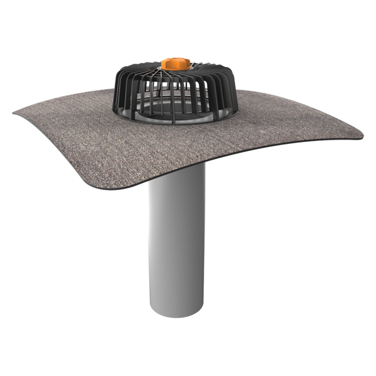 Extended single-wall roof outlets with integrated bitumen sleeve