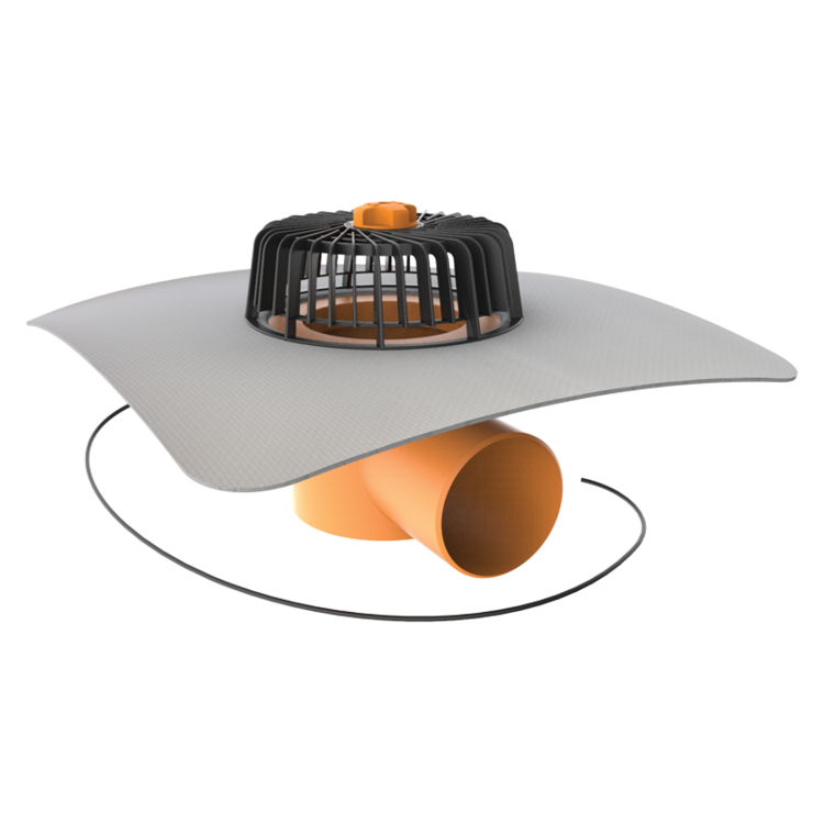 Horizontal heated roof outlets with integrated PVC sleeve